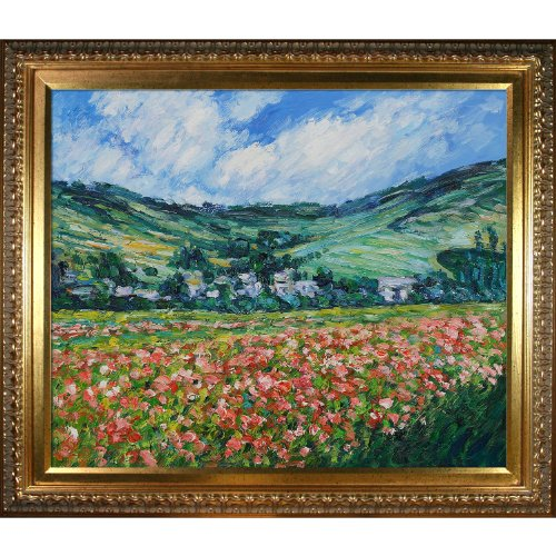 overstockArt Monet Poppy Field near Giverny Painting with Elegant Wood Frame, Gold Finish (Fields Monet Poppy)
