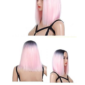 Mujer Peluca Fibra Química Gradiente De Teñido Realista Cómodo Ligero Diario Punto Medio Turismo Rosa Claro