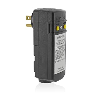 Leviton 16693 15-Amp, 120-Volt, Grounded, Compact Automatic Reset Right Angle GFCI, RoHS Compliant, Black