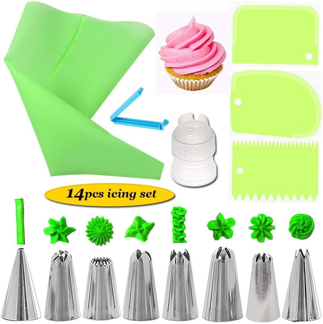 QiBest Set di Strumenti di Decorazione della Crema della Torta degli Strumenti di Cottura della Cucina Stampi con Forme Particolari