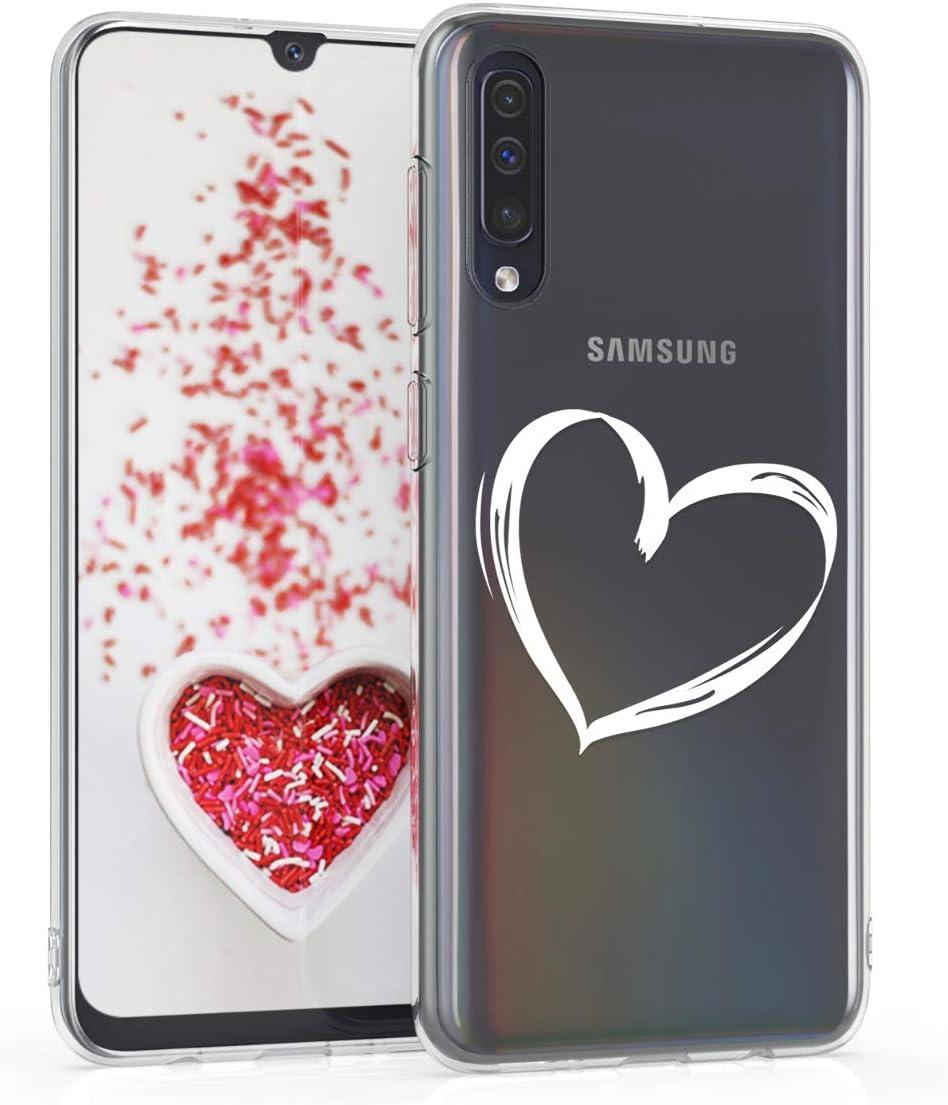 Carcasa de TPU para m/óvil y dise/ño de Nubes celestes en Blanco//Transparente kwmobile Funda para Samsung Galaxy A50
