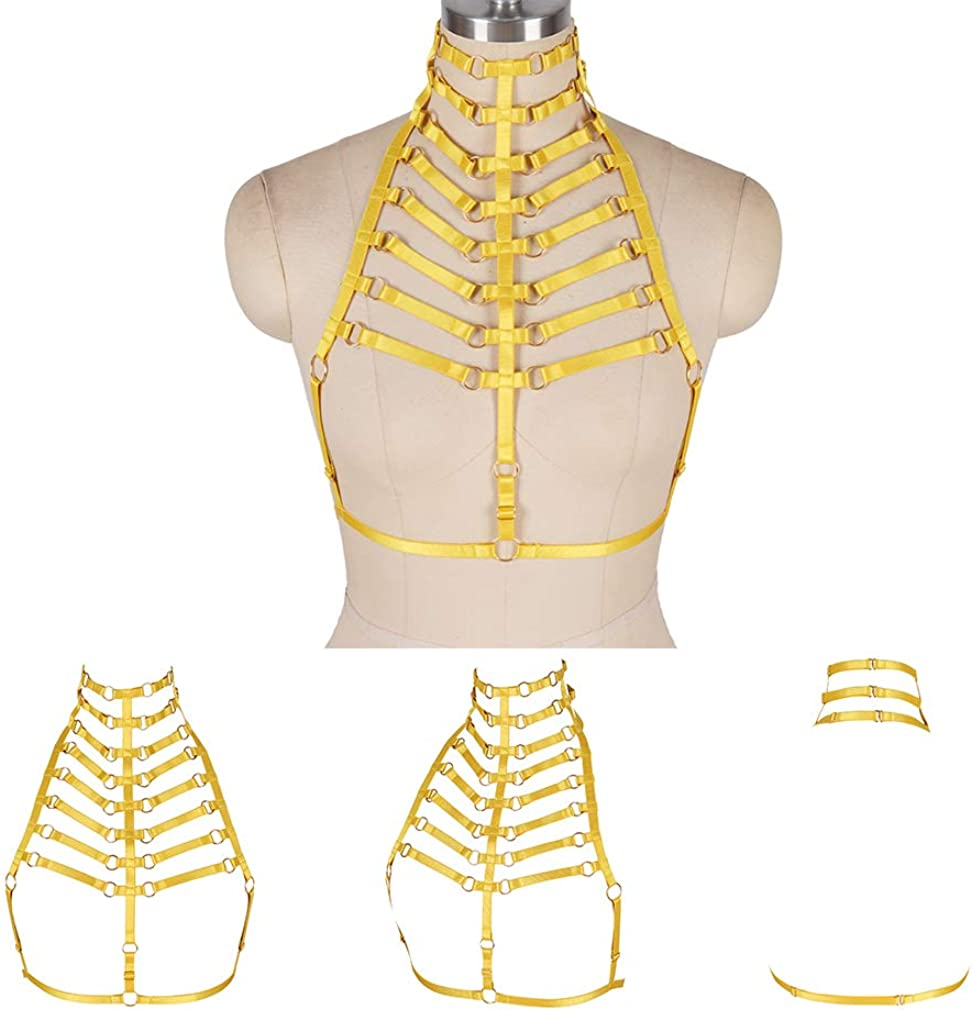 Womens Harness Body Waist Belt Strappy Tops Elastic Adjust Caged Cupless Bra Punk Goth Dance Rave Costume
