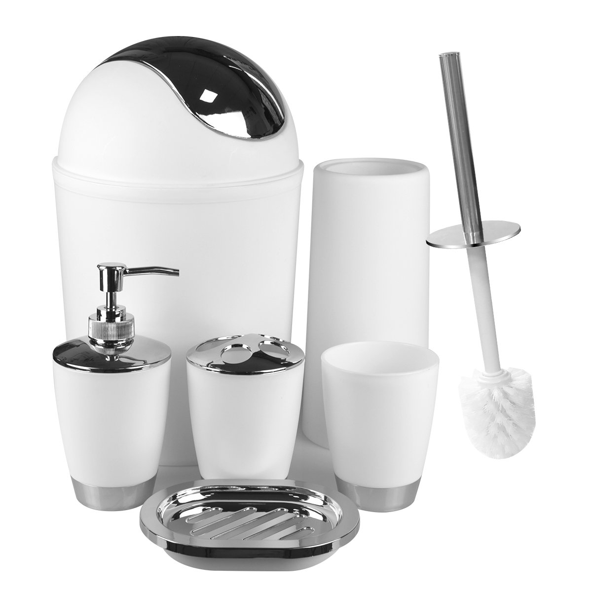 White Bathroom Accessories Set 6 Pieces Plastic Bathroom Accessories Toothbrush Holder, Rinse Cup, Soap Dish, Hand Sanitizer Bottle, Waste Bin, Toilet Brush with Holder by Aneforall (Image #1)