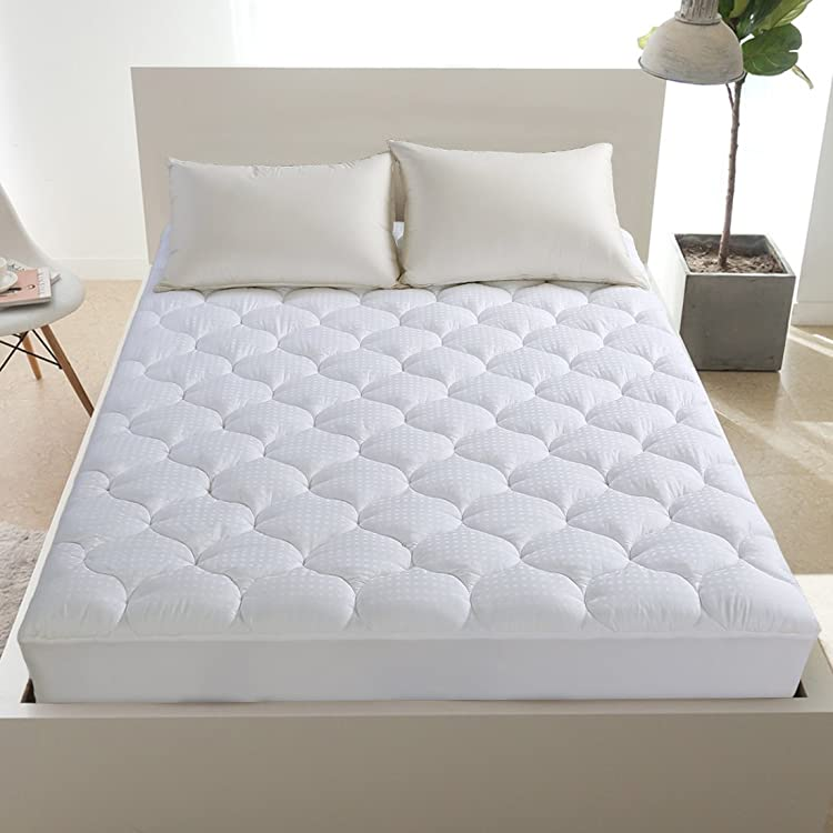 Overfilled Fitted Mattress Pad Cover(8-21'Deep Pocket) – Cooling Mattress Topper with Snow Down Alternative Fill