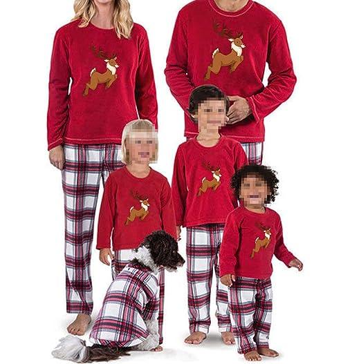 deer plaid family matching christmas pajamas pjs set sleepwear nightwear homewear for the family 5t