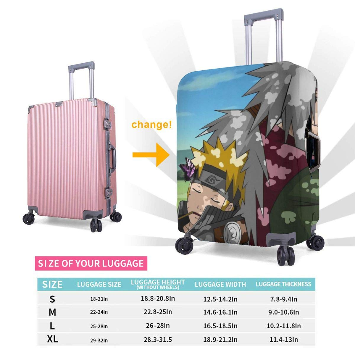 Anime Naruto Suitcase Protector Travel Luggage Cover Fit