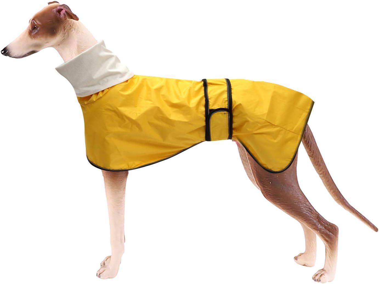 Morezi Chubasquero para perro con barra reflectante, resistente a la lluvia/agua, chaleco ajustable – Chaleco impermeable para perros para galgos, erechadores y Whippets 0608