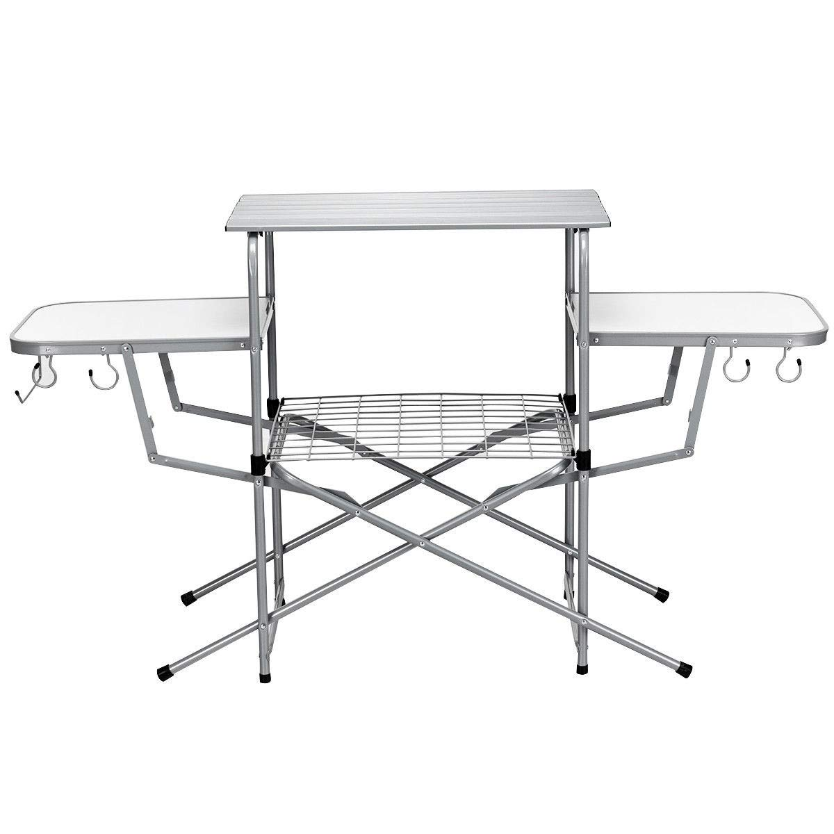 KING77777 Flexible Adjustable and Foldable Camping Outdoor Kitchen Picnic Garden Patio Grilling Stand BBQ Table with Sturdy and Durable Material