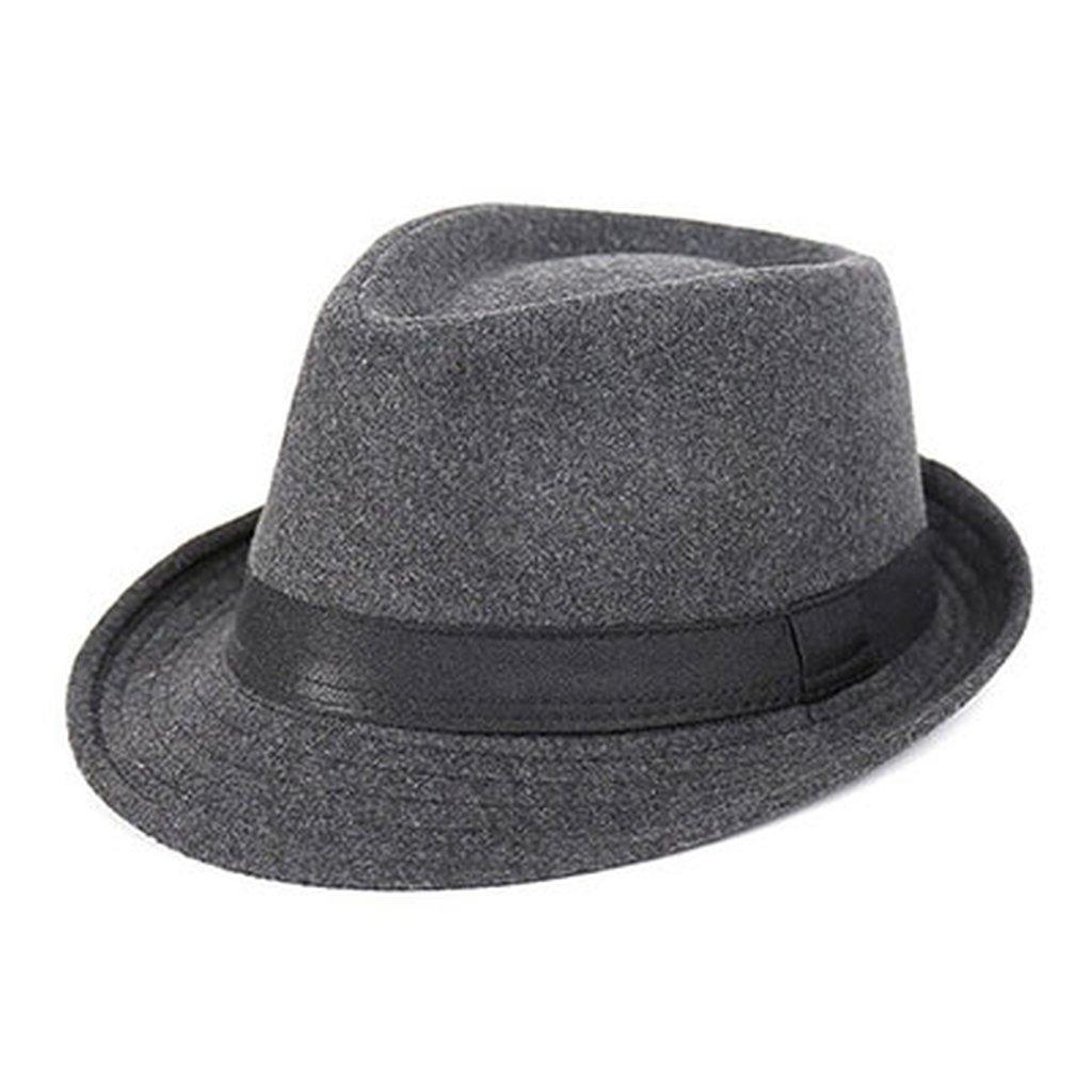 AOBRITON Wide Brim Men Fedora Hat Jazz Cap Flat Top Hat Wool Brief Style Hat Chapeu