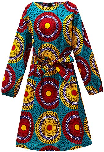 Women African Print Dress Traditional Dashiki Long Sleeves Maxi Cotton Dresses (Small, Color A) ()