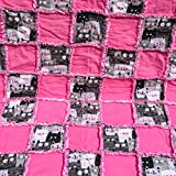 Pink and grey smiling cats surrounded by pink squares-with a reversible pink and white backing-baby rag quilt