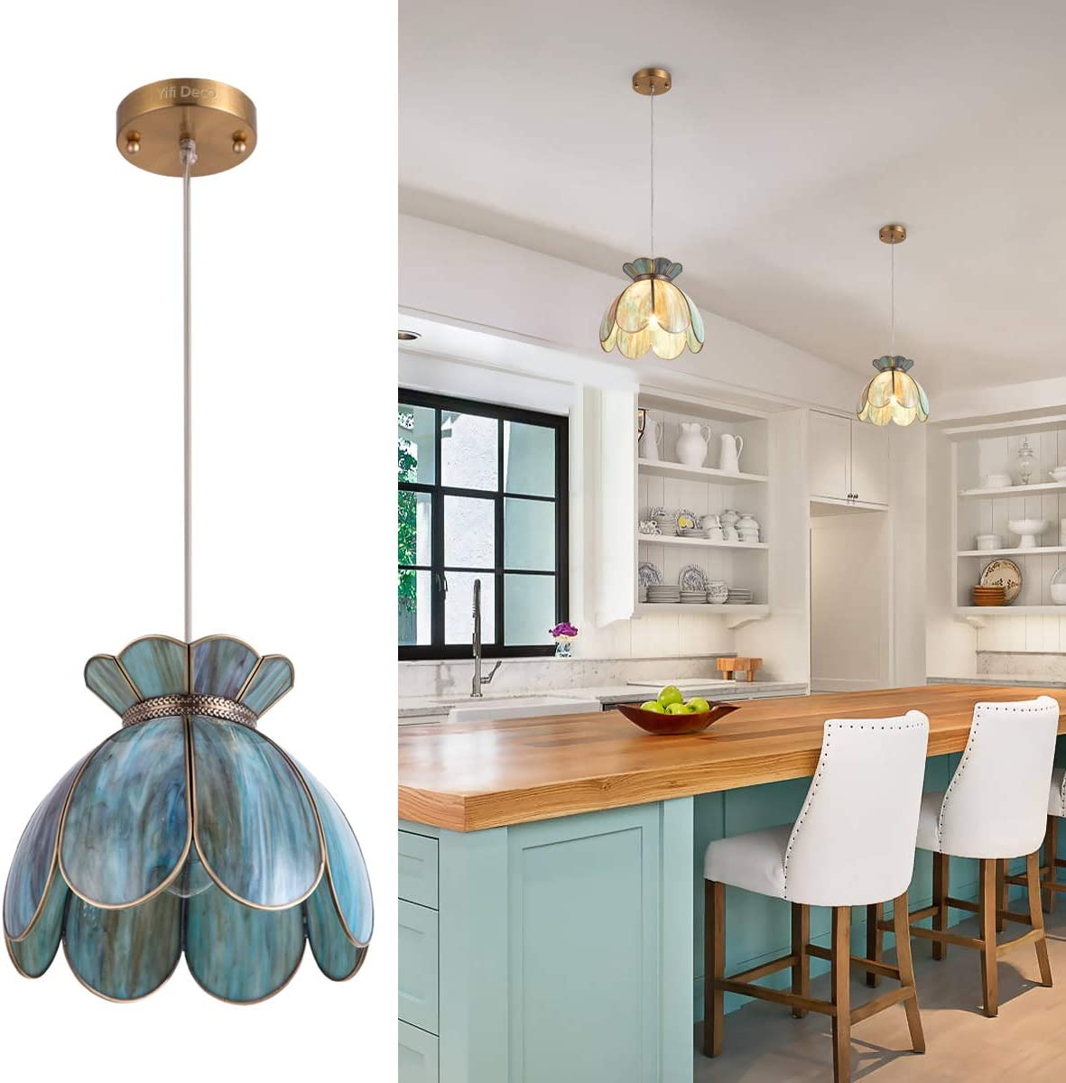 YIFI Deco Pendant Light Brass Vintage Lotus Flower Adjustable Ceiling Pendant Light for Kitchen Island Dining Room Bedroom Living Room, Emerald
