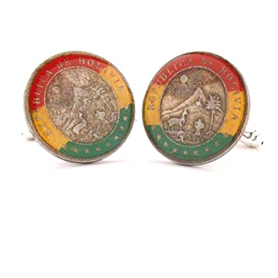 The Traveling Penny Bolivia Coin Cufflinks Cuff Links Flag Mancuernas Mancuernillas Joya Bandera Hand Made Rare