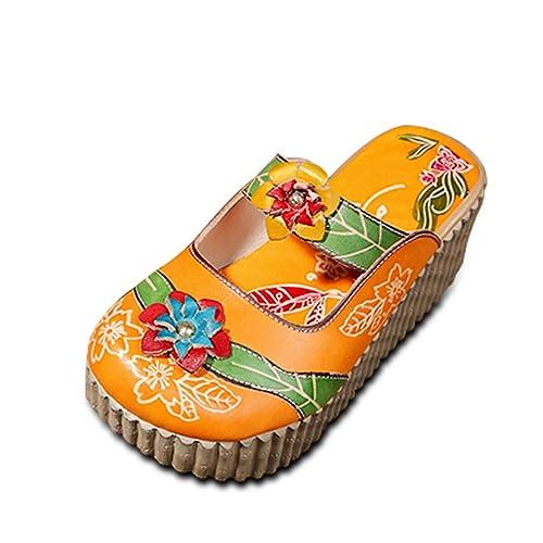 Socofy Zapatilla de Cuero para Mujer Mocasines de Mujer Sandalias Planas Zapatilla de Verano Oxford Zapatillas de Verano Vintage Zapatilla de Deporte de ...
