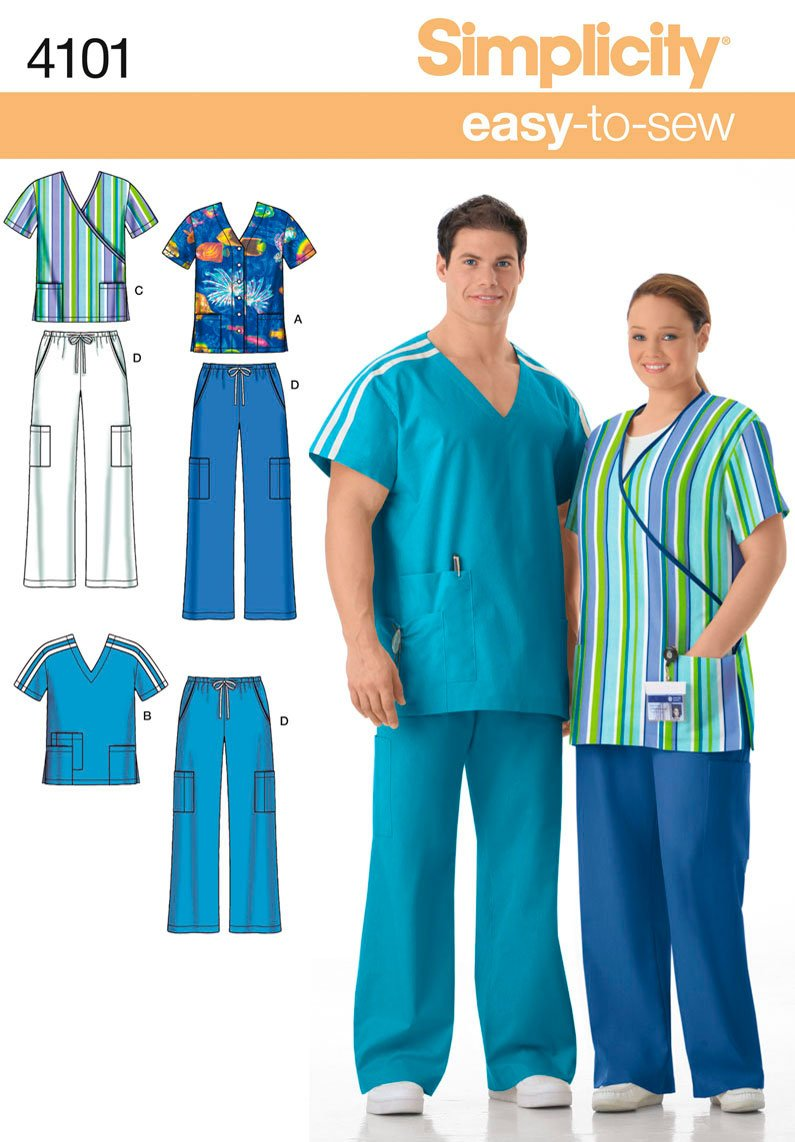 Simplicity Sewing Pattern 4101 Plus Size Scrubs, BB (X-Large - XX-Large - XXX-Large)