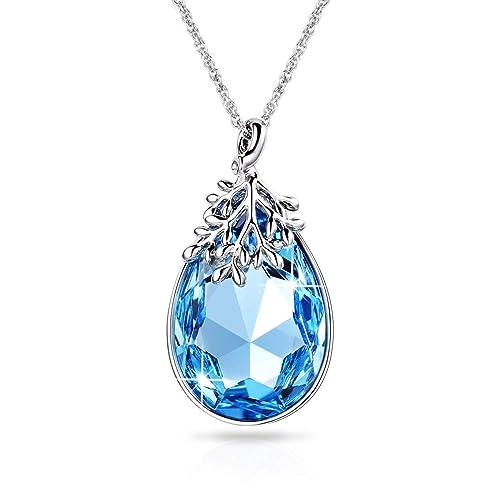 28860bbc4658 Alantyer Collar Mujer Aguamarina Lágrima Colgante con Cristales ...