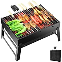 Portable Barbecue Charcoal Grill Stainless Foldable BBQ Grills for Outdoor/Garden Cooking Camping Hiking Picnic 3-5…