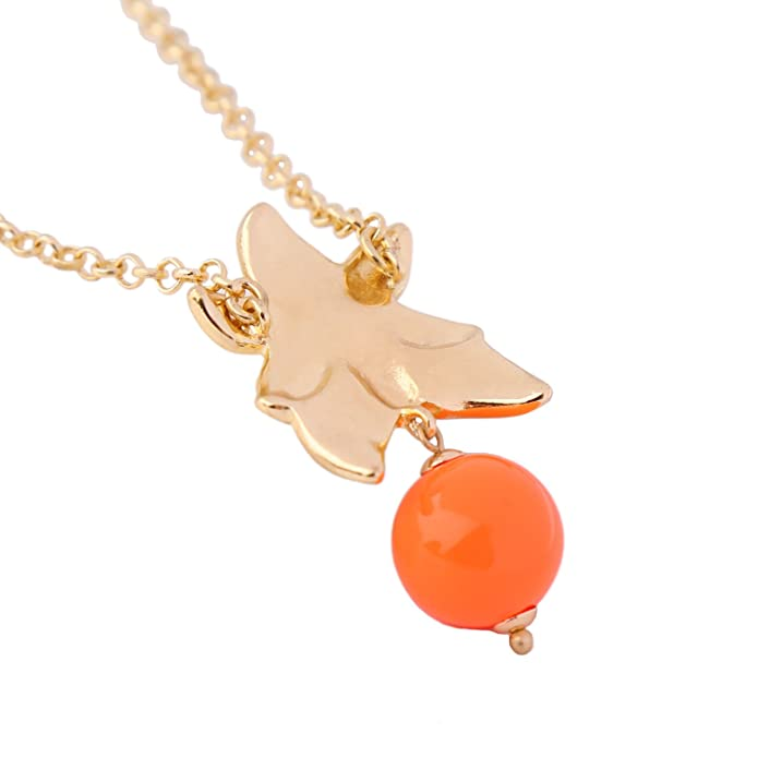 necklace pendant watch Cute Orange Bead Crystal Enamel Flower Pendant Necklace xl00511b