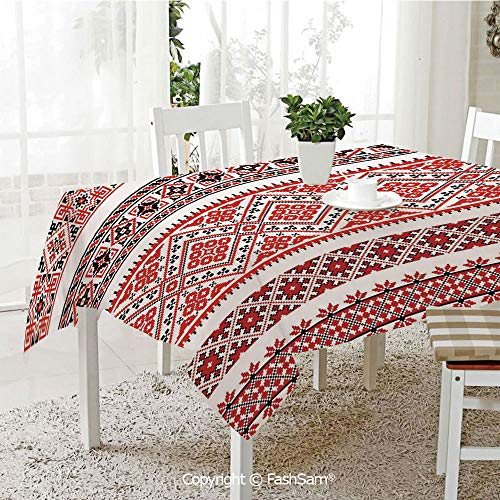 (Party Decorations Tablecloth Traditional Ukrainian Borders Frames Ornaments Old Fashioned Cultural Motifs Dining Room Kitchen Rectangular Table Cover(W60)