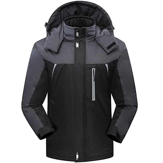 CROTI Mens Ski Jackets Waterproof Windproof Fleece Jackets Mountain Hooded Jackets Outdoors Winter