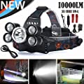 LED Cree Headlamp,10000 Lumens 5T6 Brightest and Waterproof,Zoomable, Rechargeable Headlight Flashlight Torch,hat,Helmet Light,for Hiking,camping,running ,car light,Cycling,headlamps Batteries Include