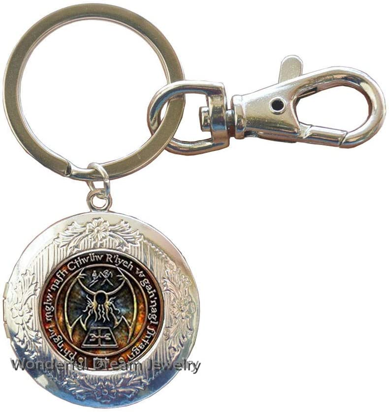 New Cthulhu R'lyeh Sigil Key Ring Inspired by H.P. Lovecraft Key Ring Locket Keychain Glass Photo cabochon Locket Keychain,PU341 (Silver)
