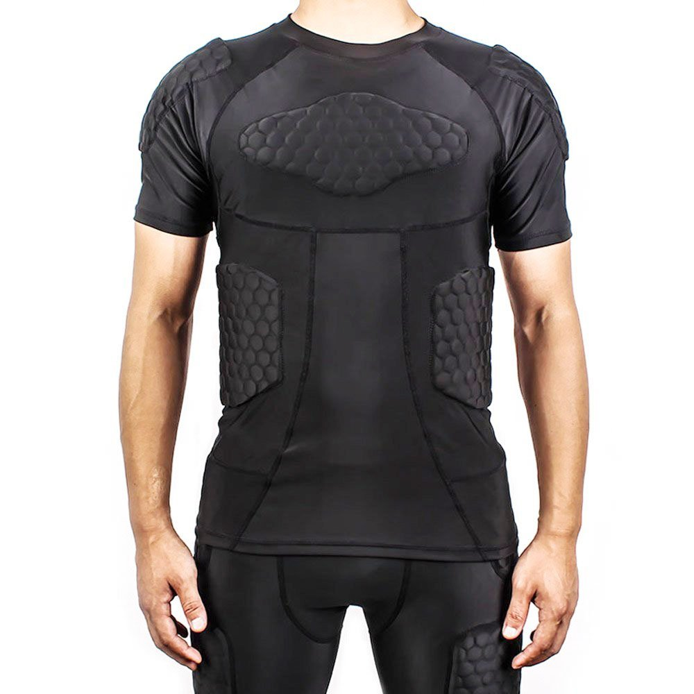 dgxinjunボディセーフガードパッド入り圧縮スポーツ半袖保護Tシャツ肩リブChestプロテクタースーツバスケットボールのペイントボールFootball RugbyパルクールExtreme練習 B01JGG8OME  XL(154-176lb)