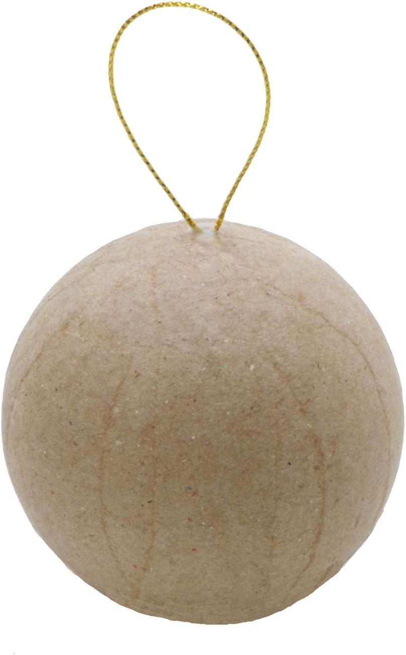 Brown D/écopatch Mache Ball Cactus 12 x 12 x 20 cm