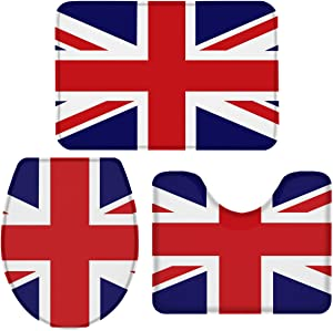ZOE GARDEN Bathroom Rugs and Mats Sets, Union Jack Flag - 3 Piece Bath Rugs for Bathroom Washable U-Shaped Contour Rug, Mat and Lid Cover