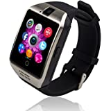 KXCD-TECH Bluetooth Smart Watch Q18 Touch Screen Smartwatch with Camera and SIM Card TF/SD Card Slot Pedometer Activity Tracker for iphone android phones Samsung HUAWEI PK GT08 A1 (silver)