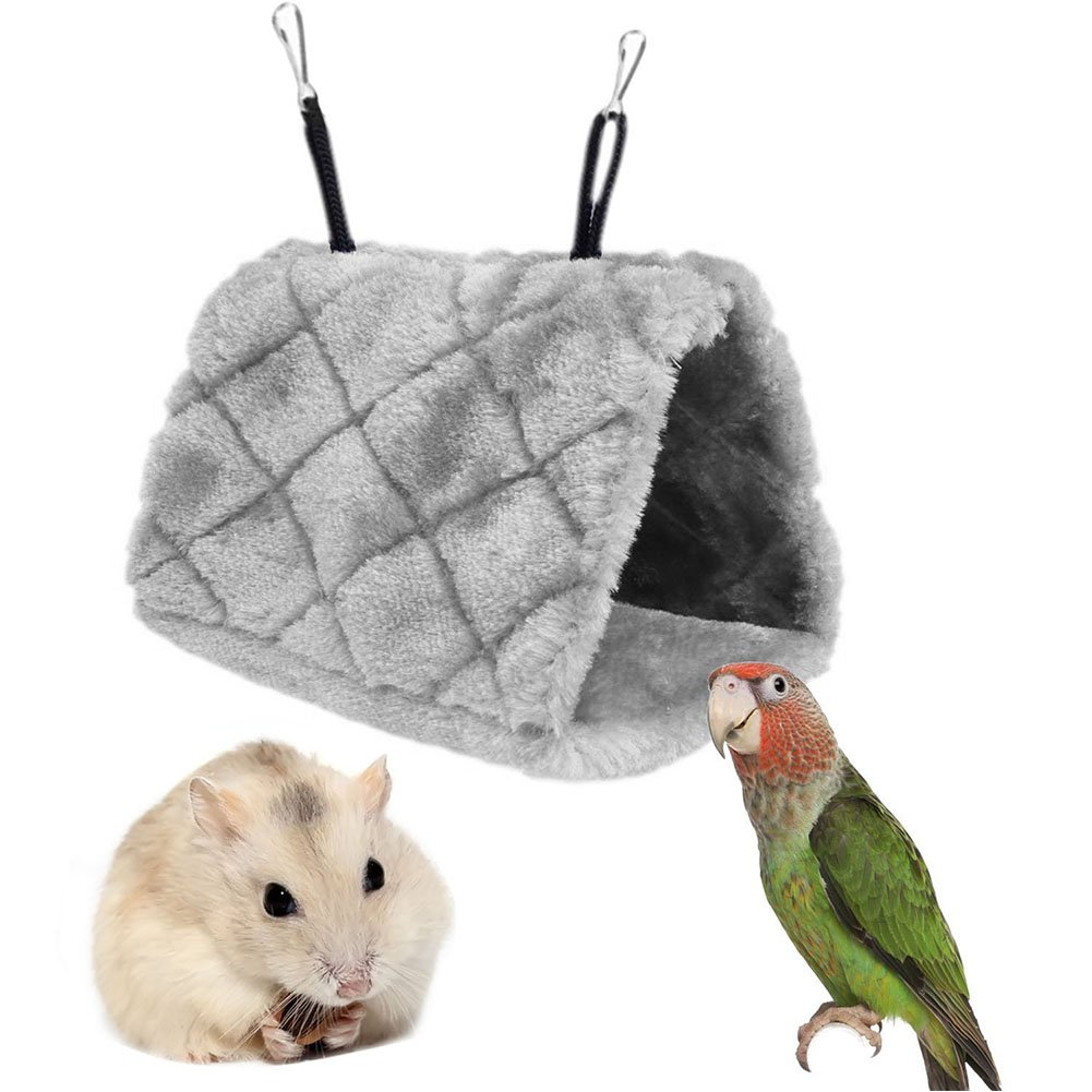 Bello Luna Gray Parrot Nest Pet Bird Nest Winter Warm Hammock Hanging Cave Cage Plush Happy Hut Tent Bed /…