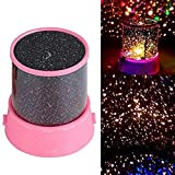 Katech LED Night Light Projector Lamp Colorful Sky Star Scene Bed Side Lamp for Children Baby Bedroom Decoration or Kids Gift (Pink)
