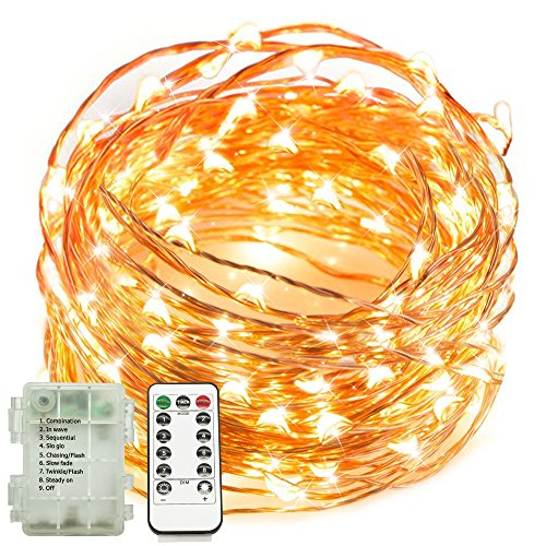 Yoland Indoor and Outdoor 16.4Ft 50LED Warm White Fairy Starry String Lights On Ultrathin Copper Wire Line + Remote Control Dimmer, 3AA Battery-Operated (not (Control Line Wire)