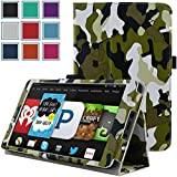 Kindle Fire 1st & 2nd Generation Cover Case - HOTCOOL Slim New PU Leather Case For Amazon Original Kindle Fire 2011 (Previous Generation - 1st) And Kindle Fire 2012 (Previous Generation - 2nd) Tablet(Will not fit HD or HDX models), Camouflage Green