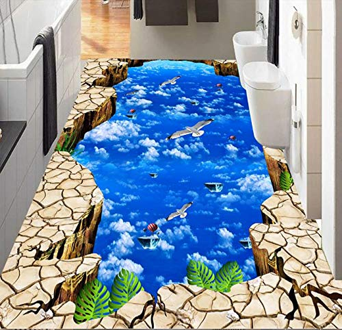 BZDHWWH 3D Flooring White Clouds Sky Birds 3D Wallpaper Self-Adhesive Vinyl Flooring Living Room Bedroom Photo Wallpaper,60Cm X 90Cm