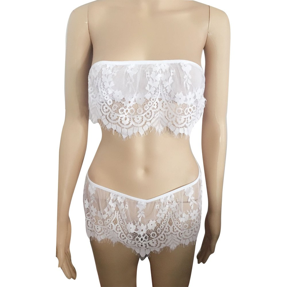 Women Lingerie Underwear Babydoll Sleepwear Lace Off Shouder Bra Dress G-String Set Chemise (M, White)