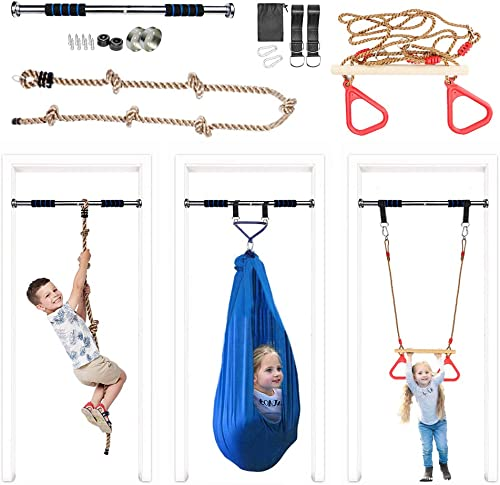 Elevtab Indoor Outdoor Playground with Swing,Climb Rope,Gymnastic Rings and Pull Up Bar for Doorway Gym