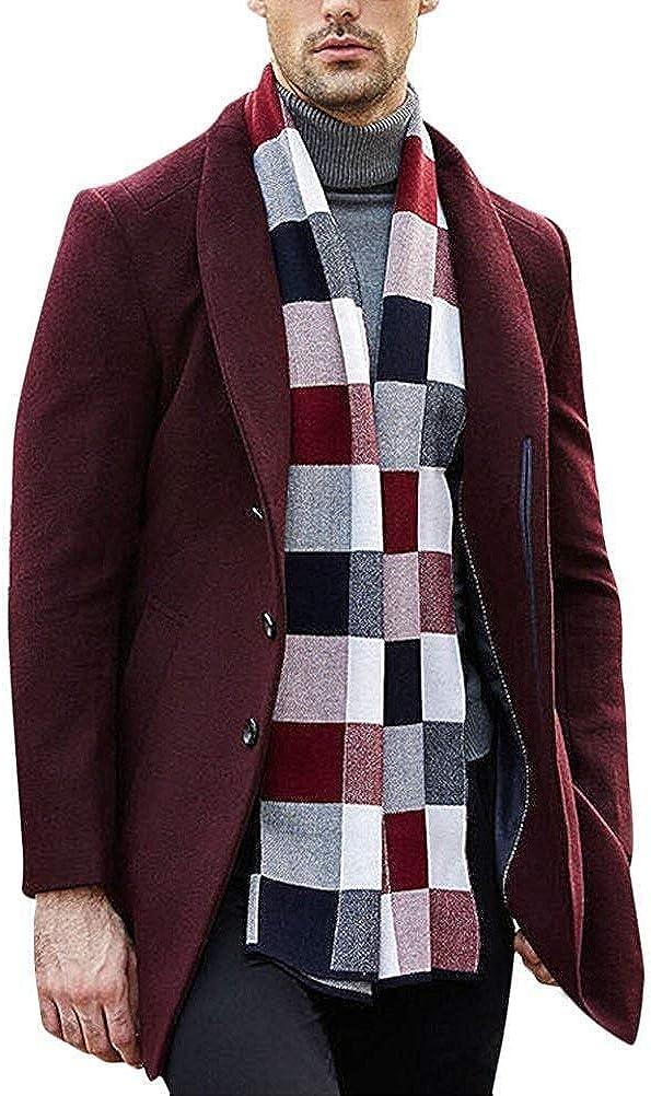 Cappotto da Uomo in Pura Lana Vergine Business Lungo Completi alla Moda Parka Autunno Nero Grigio Cachi Vino Rosso Rotwein
