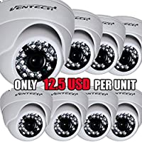 VENTECH (8 Pack) CCTV Security Dome Camera Color 1000tvl CMOS 24led IR cut Night Vision Home Surveillance 3.6mm Lens Indoor aa