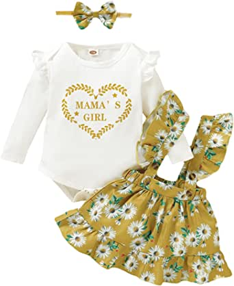 Toddler Baby Girls Outfits 3pcs Baby Romper Clothes Set Girl Floral Jumpsuit+ Overalls Strap Skirt Outfits