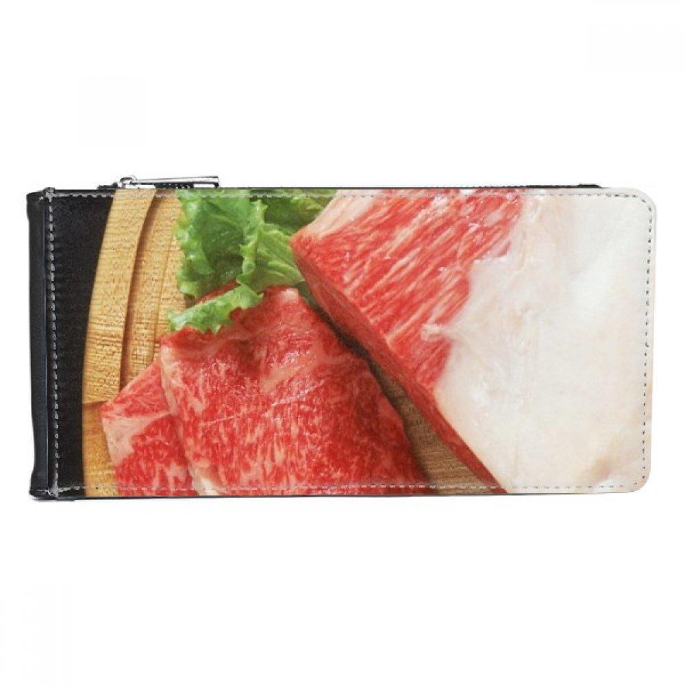ラムレッグ 肉 食べ物 質感 マルチカード フェイクレザー 長方形 財布 カード入れ ギフト B07BJZT4XY
