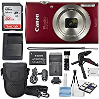 Canon PowerShot ELPH 180 Digital Camera (Red) + 32GB SDHC...