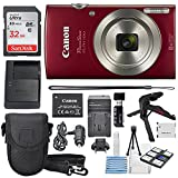 Canon PowerShot ELPH 180 Digital Camera (Red) + 32GB SDHC Memory Card + Flexible tripod + AC/DC...