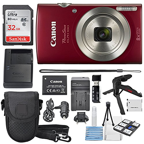 (Canon PowerShot ELPH 180 Digital Camera (Red) + 32GB SDHC Memory Card + Flexible tripod + AC/DC Turbo Travel Charger + Replacement battery + Protective camera case with Deluxe Bundle)