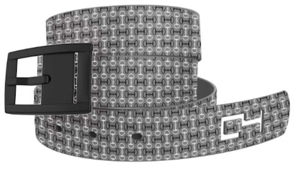 C4 Belts Grey Bits Classic Womens Belt with Black Buckle - Fashion Belt for Women - Waist Belt - For Dresses Active Lifestyle