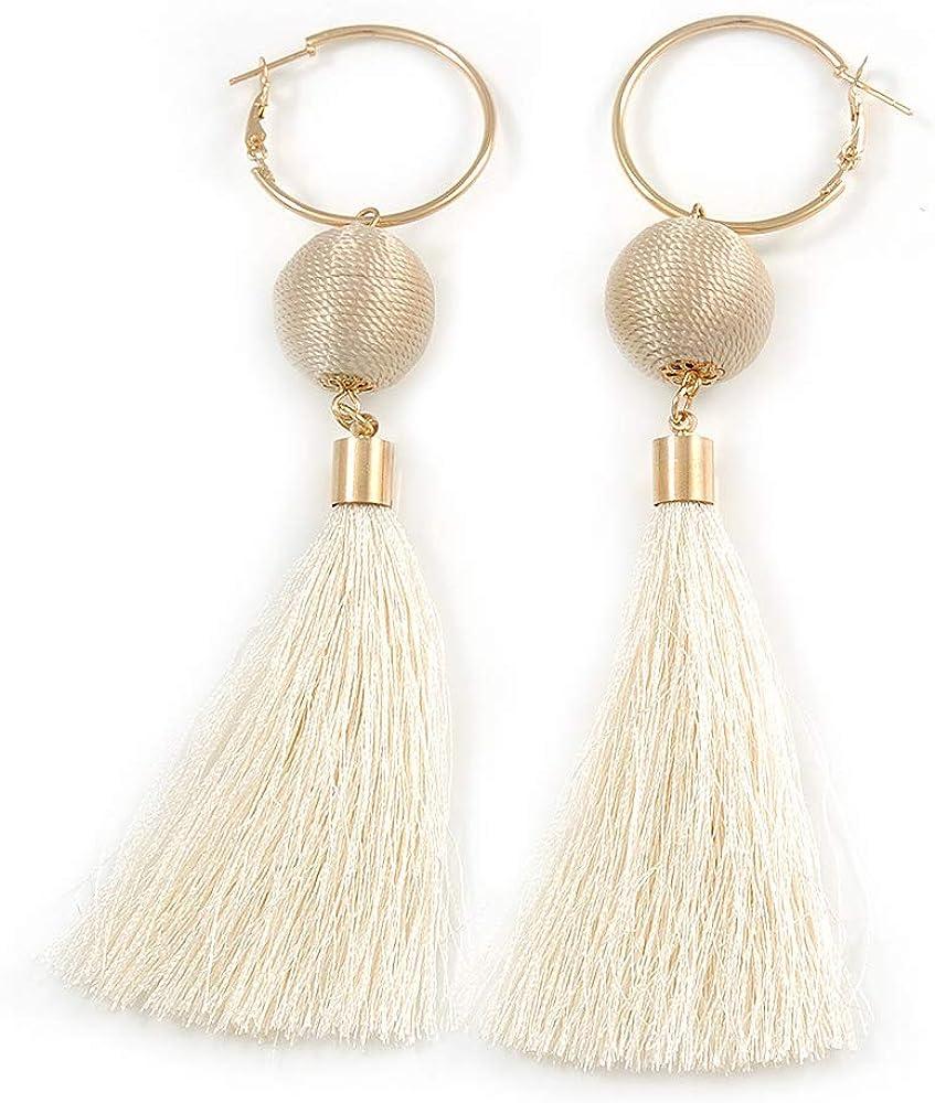Aretes largos de algodón blanco con bola y borla de aro en tono ...