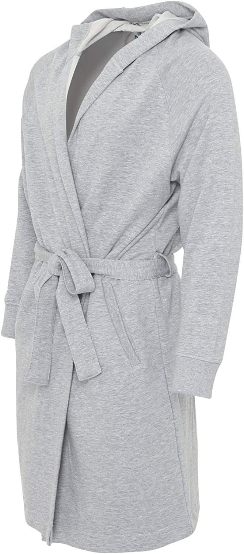 ChicWhisper Mens Grey Bath Robe Hooded Dressing Gown