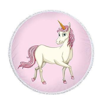Earendel Muticolor Creative Rainbow Unicorn Series - Toalla de Playa Redonda de Microfibra para Picnic o Yoga, diseño de Unicornio: Amazon.es: Hogar
