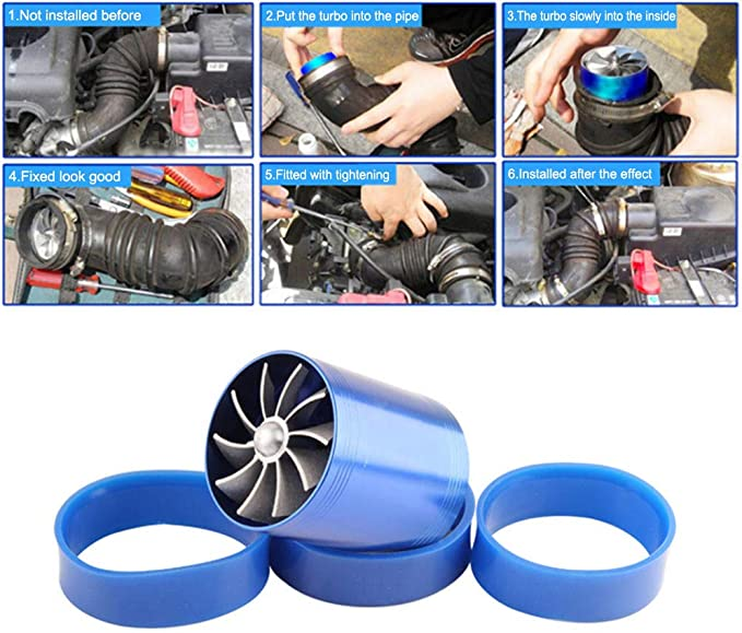 Auto Lufteinlass Turbonator Dual Fan Turbine Super Charger Gas Kraftstoff Saver Turbo Auto Lufteinlass Turbonator Blau
