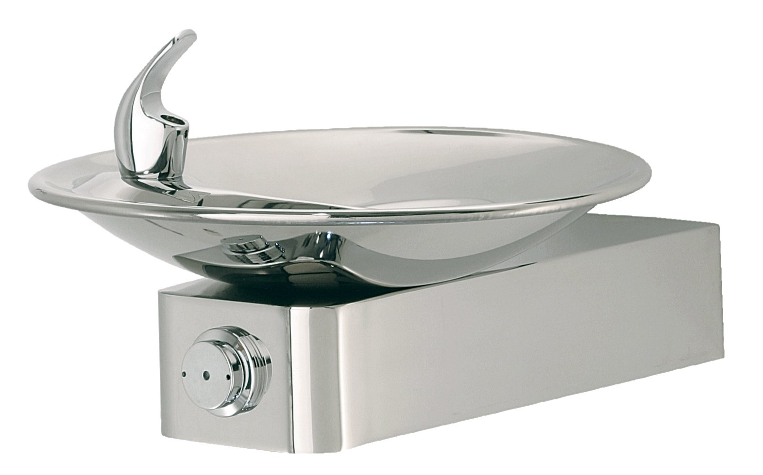 Haws 1001HPS High Polished 18 Gauge 304 Stainless Steel Barrier-Free Drinking Fountain with Sculpted Bowl (Mounting Frame Not Included)